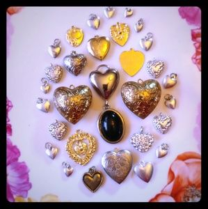 20 something heart locket charms vintage to new